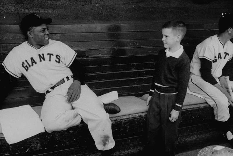 Mays always loved to interact with kids. As a New York Giant he would frequently play stickball with kids in Harlem, and today his foundation benefits underprivileged youth.