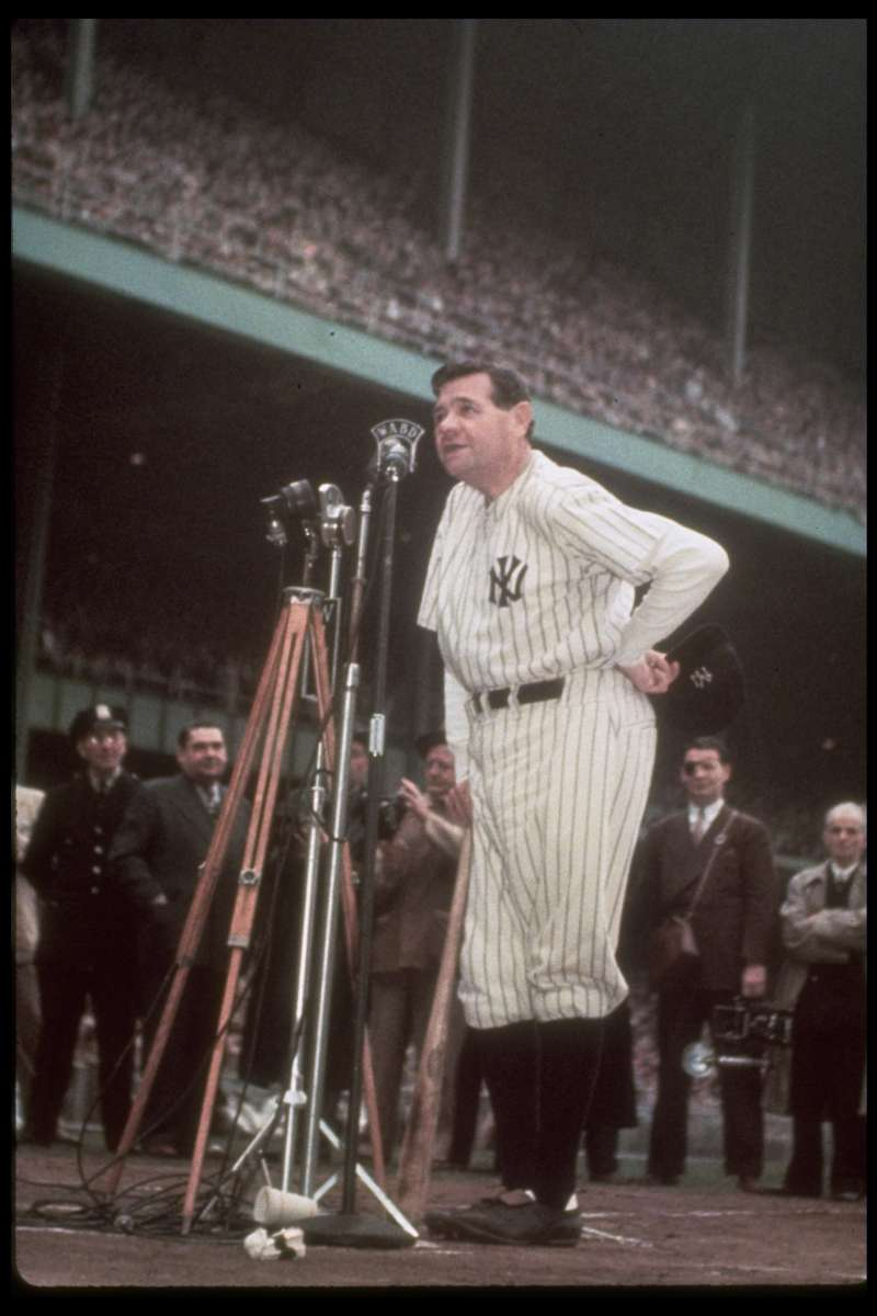 Not published in LIFE. Babe Ruth thanks the crowd during his final public appearance in pinstripes, June 13, 1948.