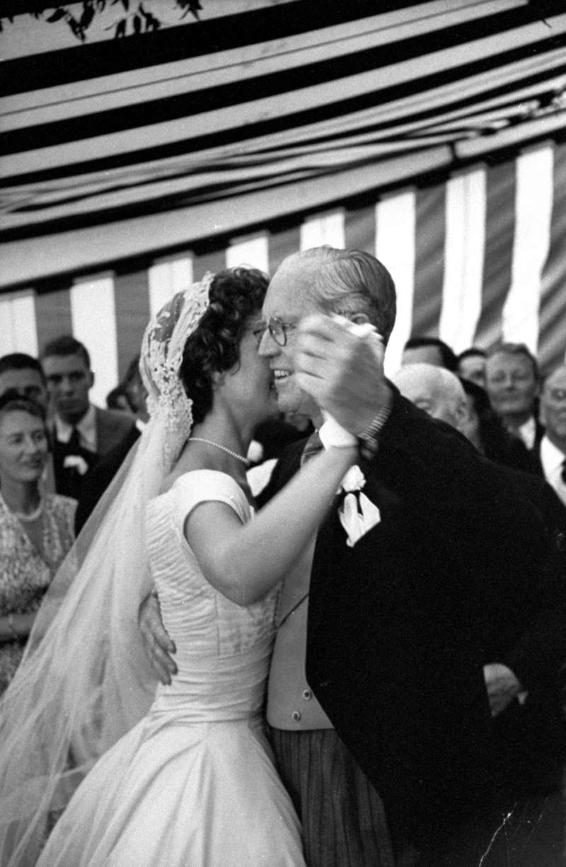 Jackie Kennedy dances with her new father-in-law. She and Joseph P. Kennedy would become close over the years. Her own father, Jack Bouvier, missed her wedding ceremony completely after getting drunk in his hotel room. (Stepfather Hugh Auchincloss walked Jackie down the aisle.)