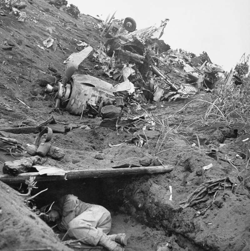 Amid the Carnage of Iwo Jima, Shelter and Sleep                              During the 35-day battle in Feburary and March of 1945 on Iwo Jima, a man finds refuge and sleep amid the wreckage that covers the island.
