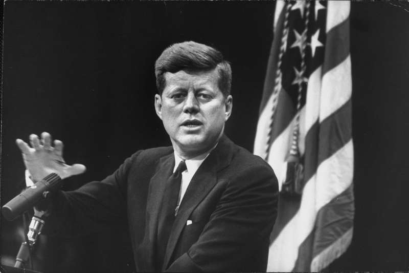 President John F. Kennedy answers questions at his first press confrence as president, on Jan. 25, 1961. Kennedy discussed nuclear disarmament, a famine in Congo, U.S. airmen detained by the USSR, and evictions of farmers in Indiana.