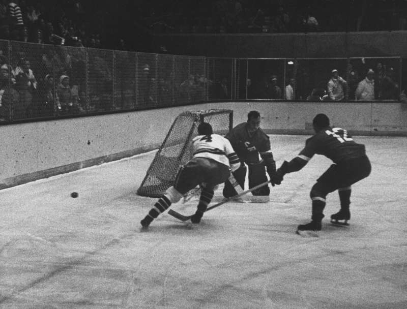 The unheralded U.S. team beat Canada, Sweden, the USSR, and the Czechs en route to its first-ever hockey gold.