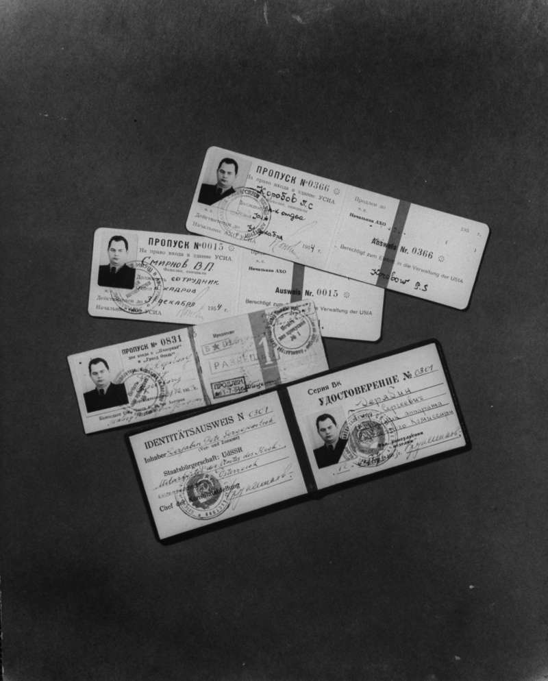 Having several seemingly authentic sets of documentation is a must for any operative in the field.  Seen here: Soviet identity cards used by Peter S. Deriabin, the highest ranking USSR official to defect to the West. Deriabin worked for the forerunner of the KGB, and even served as Stalin's personal body guard at one point. The CIA called the value of the intelligence gained from his defection  incalculable.
