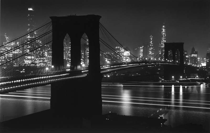 ... immaculate sigh of stars / Beading thy path, condense eternity / And we have seen night lifted in thine arms.  — Hart Crane,  To Brooklyn Bridge