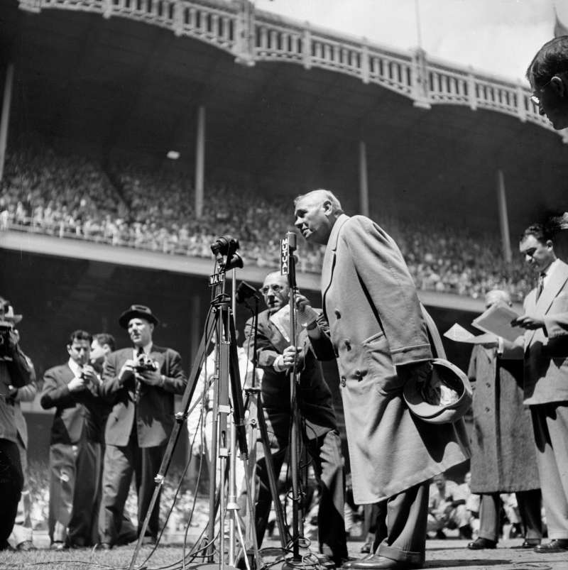 An ailing Sultan of Swat thanks an overflow crowd at Yankee Stadium on  Babe Ruth Day  in 1947.