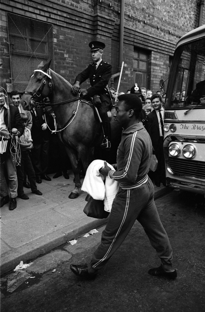 Not published in LIFE. Brazil great Pelé enters the stadium in Liverpool, 1966.