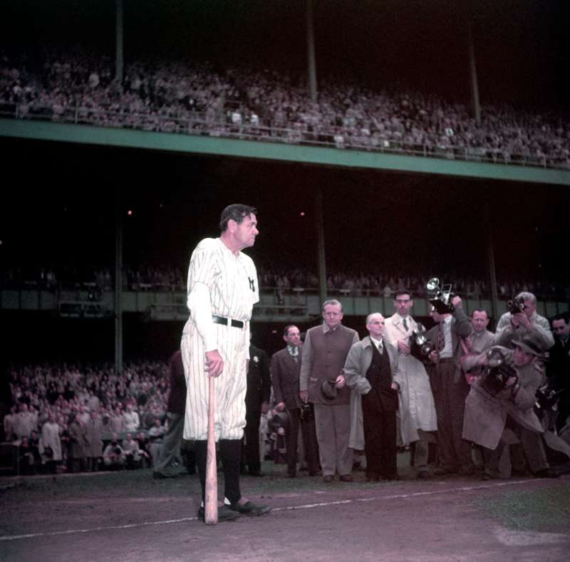 Not published in LIFE. Babe Ruth waits to speak at Yankee Stadium, June 13, 1948, the day the Bombers retired his number.