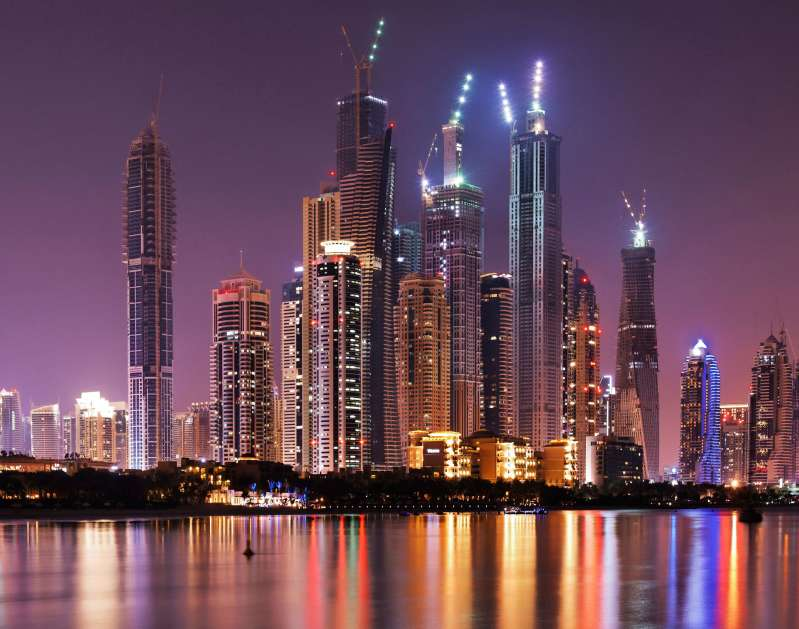 Spectacular skyline at night, Dubai Marina, Dubai, United Arab Emirates, Middle East