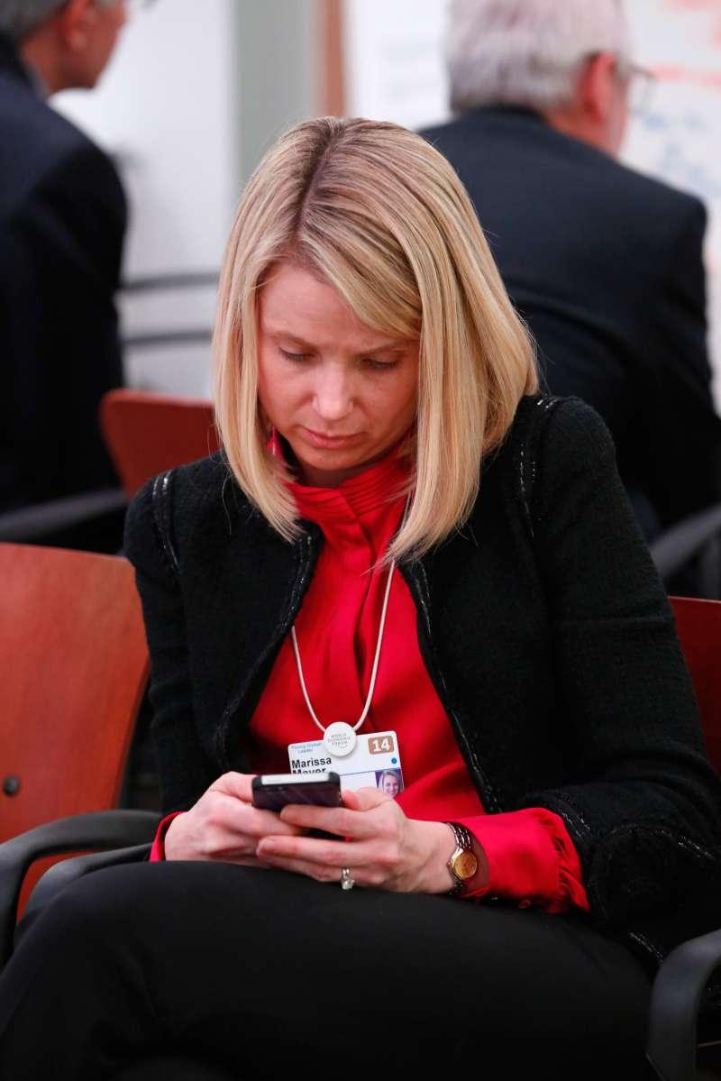 Marissa Mayer on mobile phone