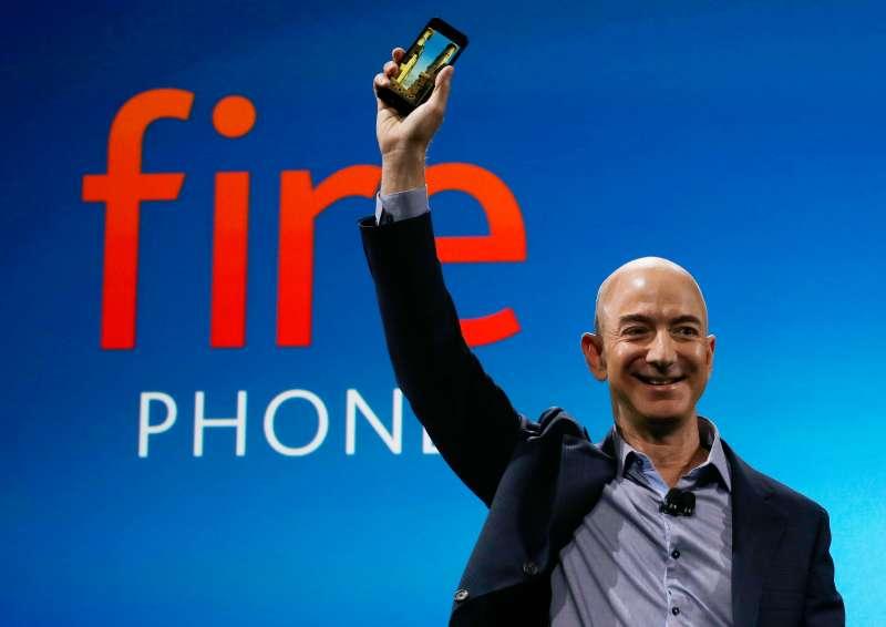 Jeff Bezos holding the new Amazon Fire Phone