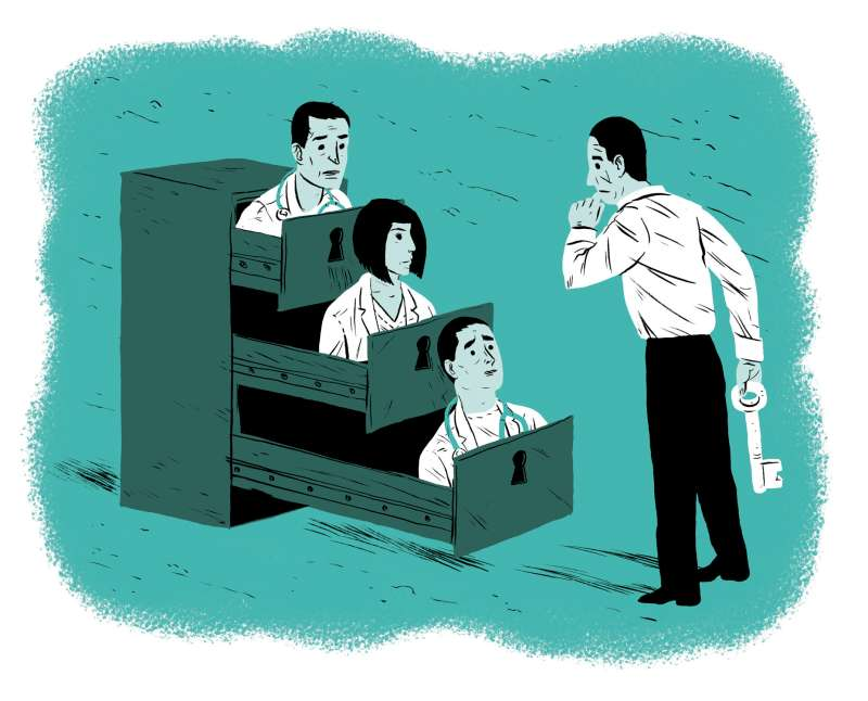 Illustration of man unlocking filing cabinet of doctors