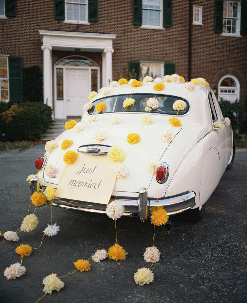 Just Married car with flowers