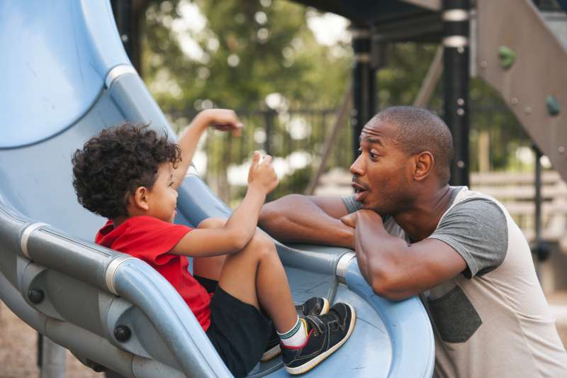 Father and son at the playground