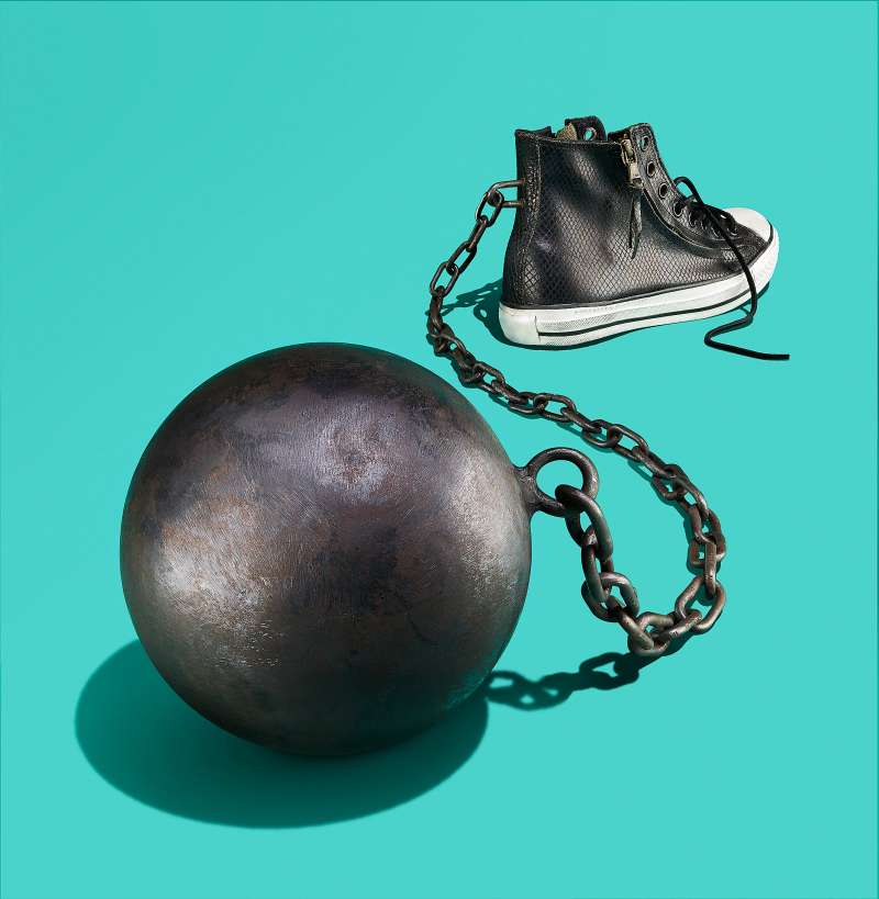 Converse sneaker ball and chain