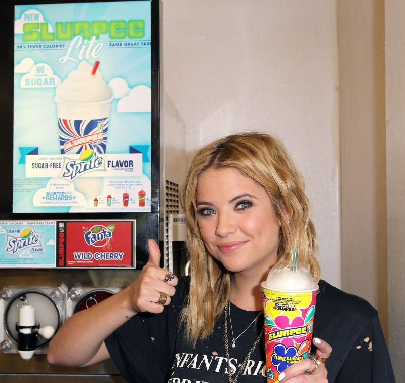 Actress Ashley Benson of ABC's hit TV show  Pretty Little Liars  takes ceremonial first slurpee sip