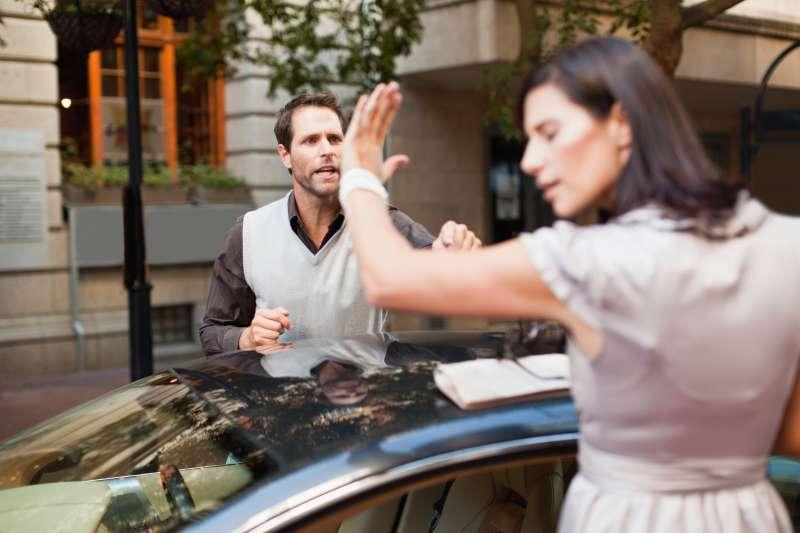 Divorcing couple arguing