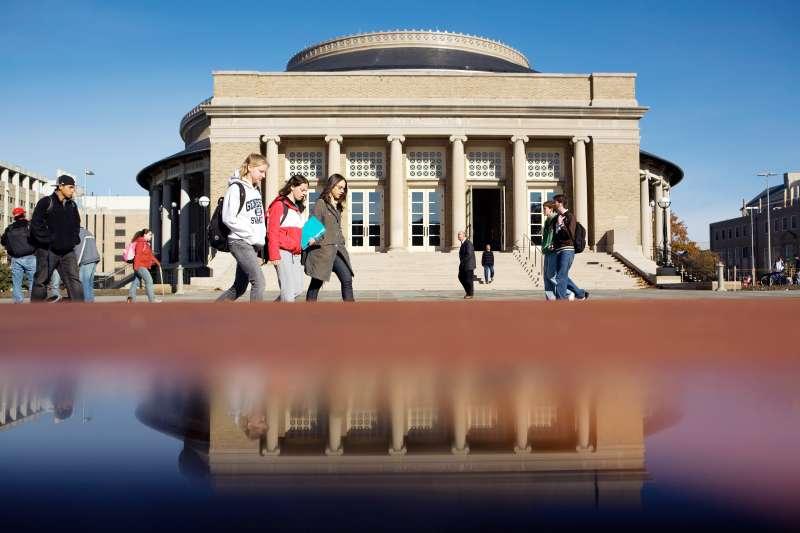 Students outside Bailey Hall, Cornell University