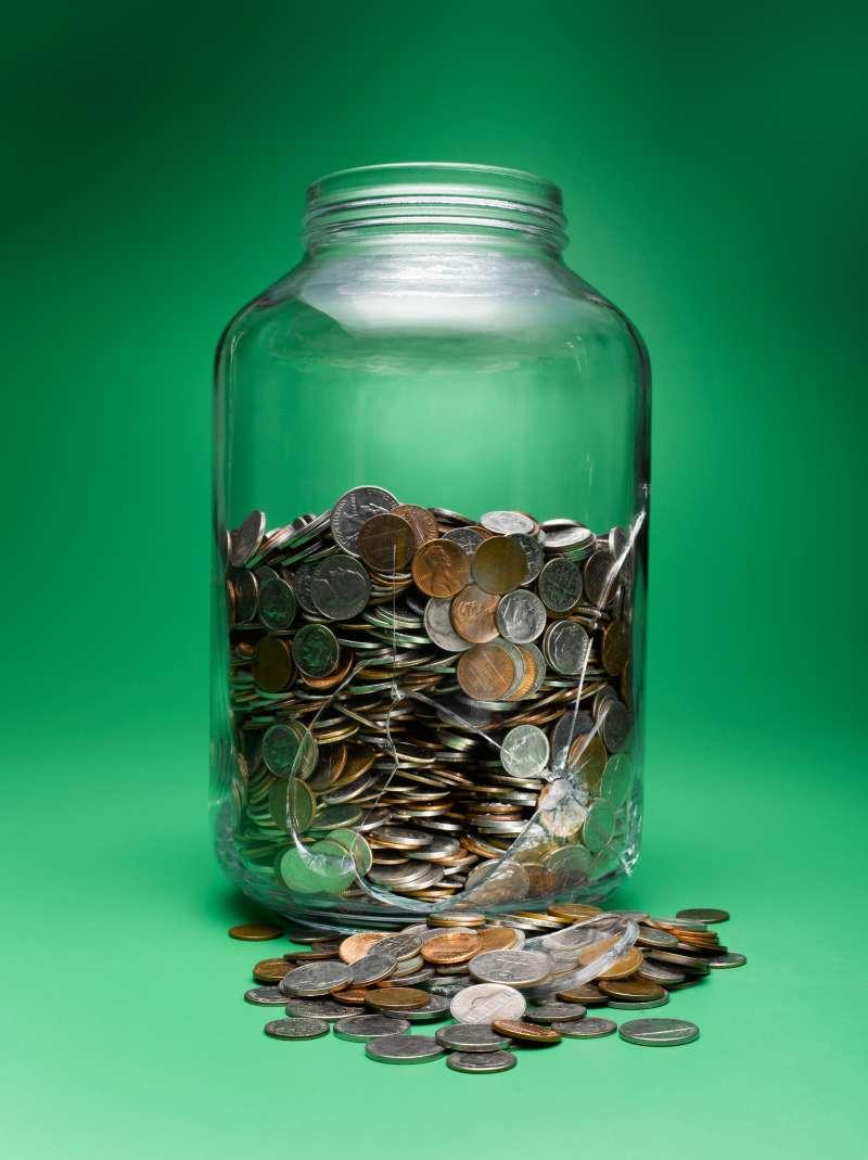 Broken money jar