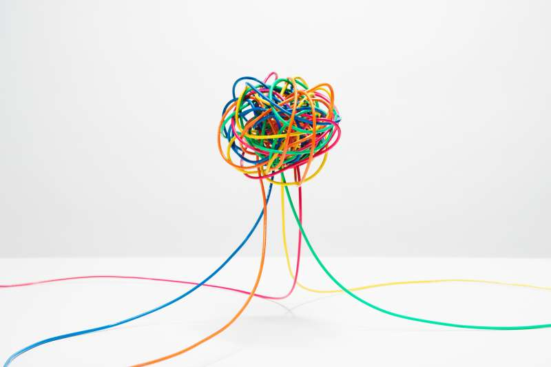 Tangle of colored wires