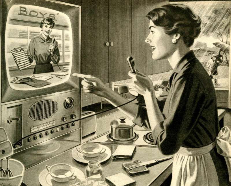 Vintage 1960s advertisement from the Electric Light and Power Companies of America of what future online shopping could be like