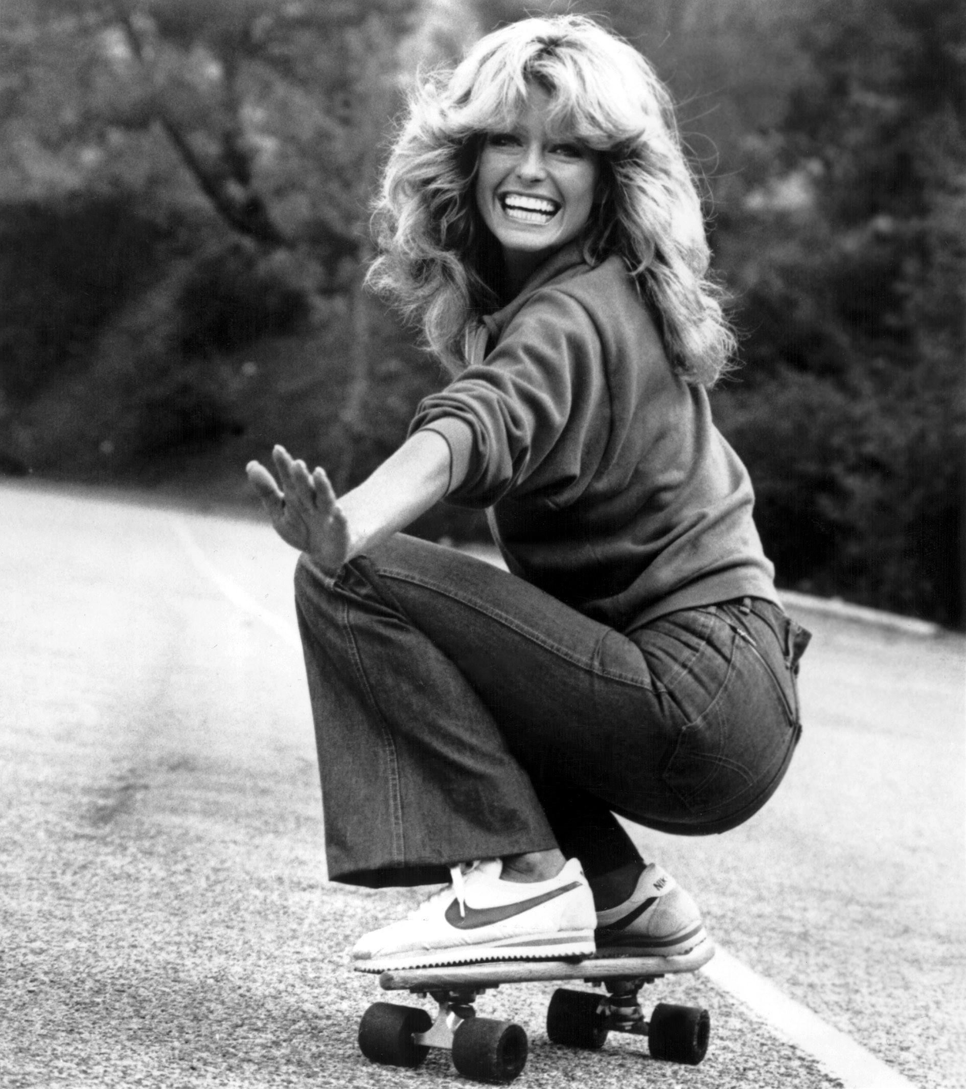 The 1970s: A jeans-clad Farrah Fawcett flaunts her assets.