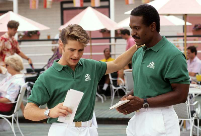 Jason Priestley as  Brandon Walsh  working at The Beverly Hills Beach Club in 90210