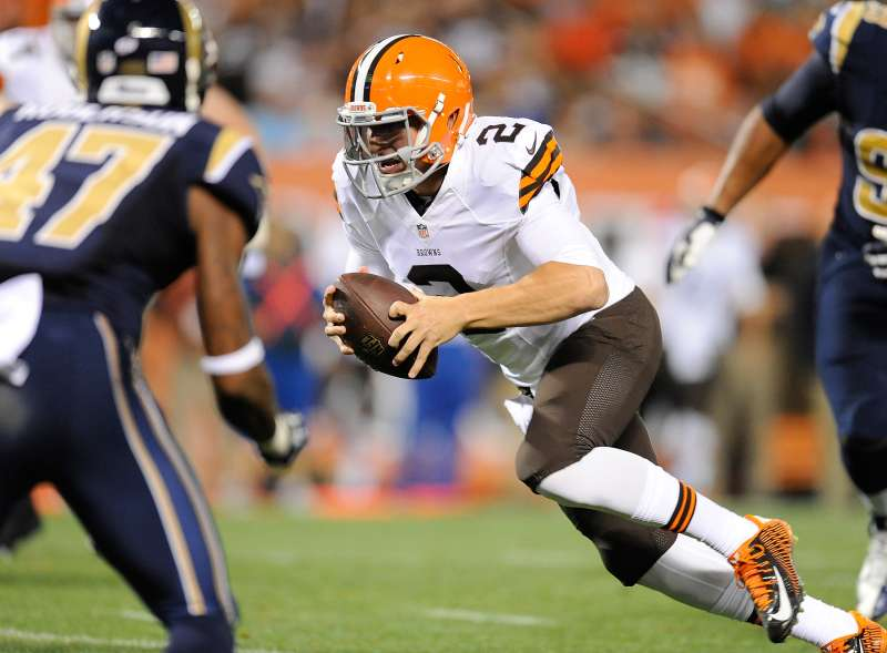 Johnny Manziel #2 of the Cleveland Browns scrambles for a touchdown during the third quarter against the St. Louis Rams at FirstEnergy Stadium on August 23, 2014 in Cleveland, Ohio.