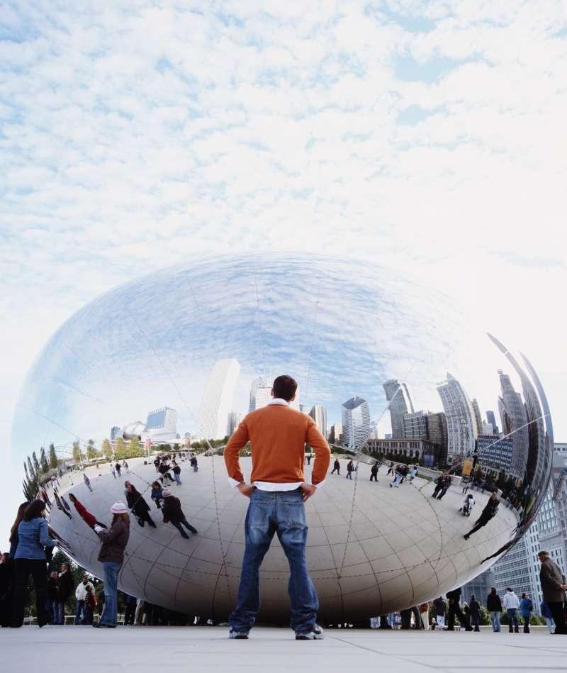 Man looking at bubble