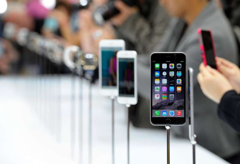 The new Apple Inc. iPhone 6 is displayed.