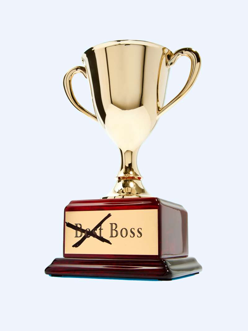 Trophy with  Best  in  Best Boss  engraving crossed out