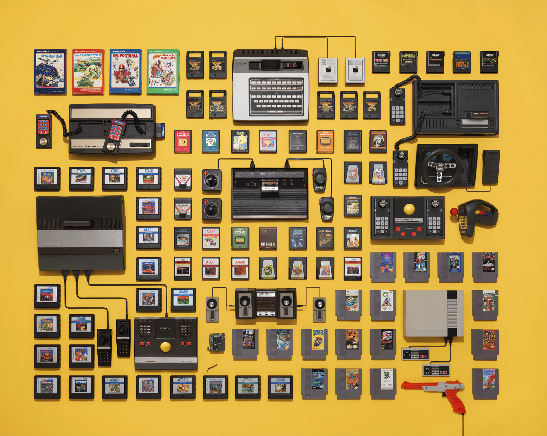 """8-Bit Videogame Collection, including the Nintendo NES.  List Price of 1985 Nintendo NES Control Deck: $199, per <a href=""""http://images.businessweek.com/ss/06/10/game_consoles/source/4.htm"""" title=""""BusinessWeek"""" target=""""_blank"""">BusinessWeek</a>.                                            <strong>Today's equivalent:</strong> Xbox 360 500GB Holiday Bundle. List Price $249.99, on <a href=""""http://www.xbox.com/en-US/xbox360/consoles"""" title=""""Xbox 360 Console"""" target=""""_blank"""">Xbox.com</a> OR <strong> PlayStation 4 Destiny Bundle.</strong> List Price $449, available on <a href=""""http://www.amazon.com/exec/obidos/ASIN/B00KVOVBGM/ref=nosim/6553221-rg1864-00-20?s=merchant"""" title=""""Amazon.com"""" target=""""_blank"""">Amazon.com</a>."""