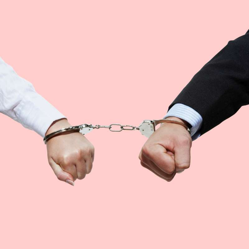 Man and wife handcuffed together