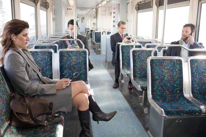empty train of commuters