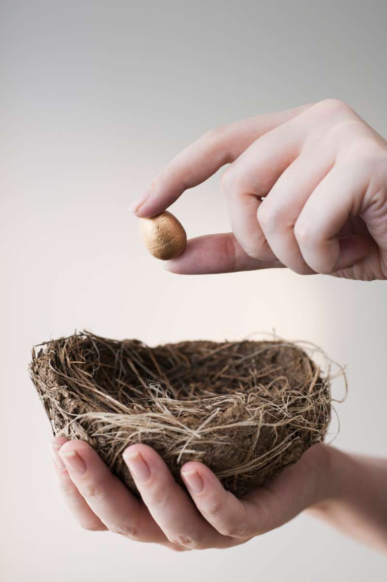 Putting tiny egg in big nest