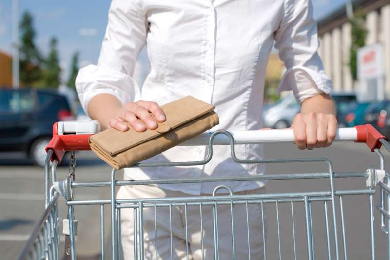 woman with shopping cart and wallet