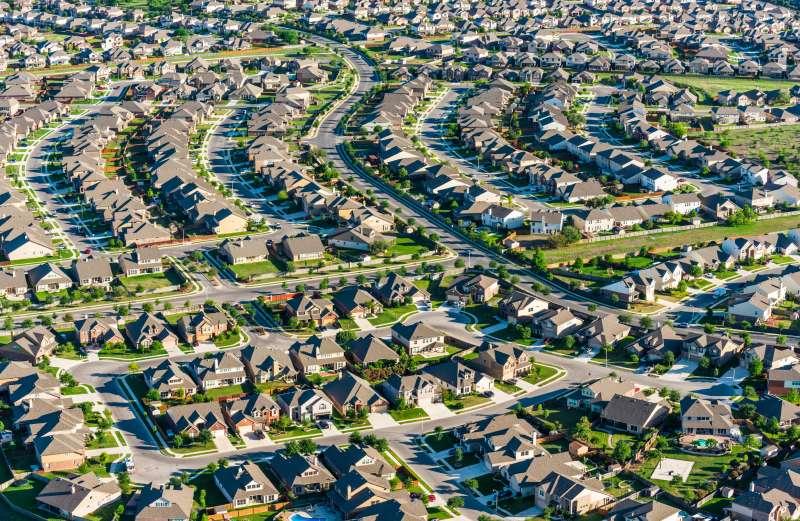 aerial view of subdivision