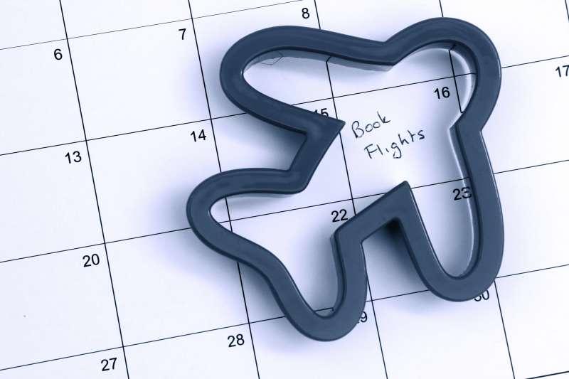 shape of airplane over calendar