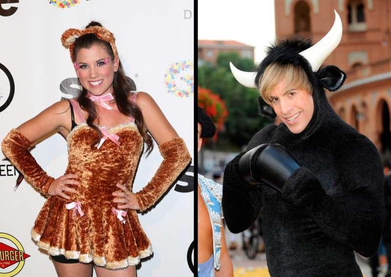 Actress Katie Seeley as a bear (left) and Sacha Baron Cohen as a bull (right)