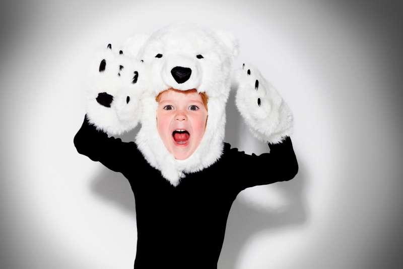 kid in polar bear costume