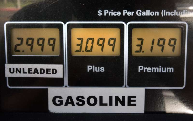 Gas pump with $3 unleaded gas