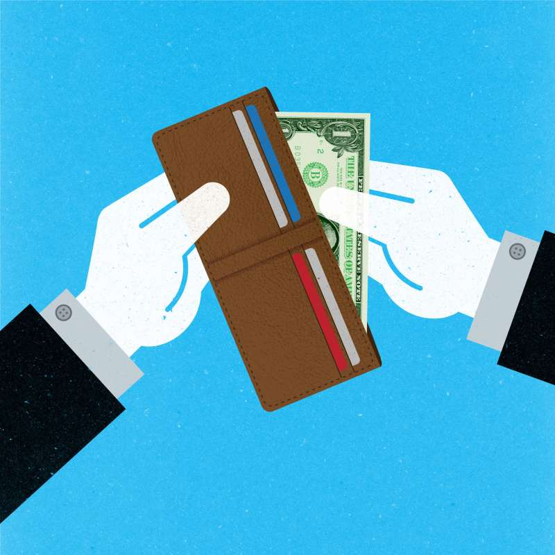Ask the Expert – Everyday Money illustration pulling cash out of wallet