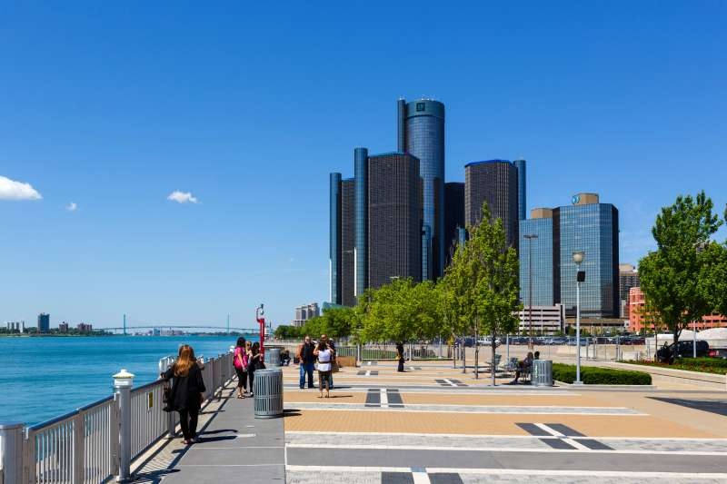 The Renaissance Center city skyline and the Detroit River viewed from Milliken State Park, Detroit, Michigan.
