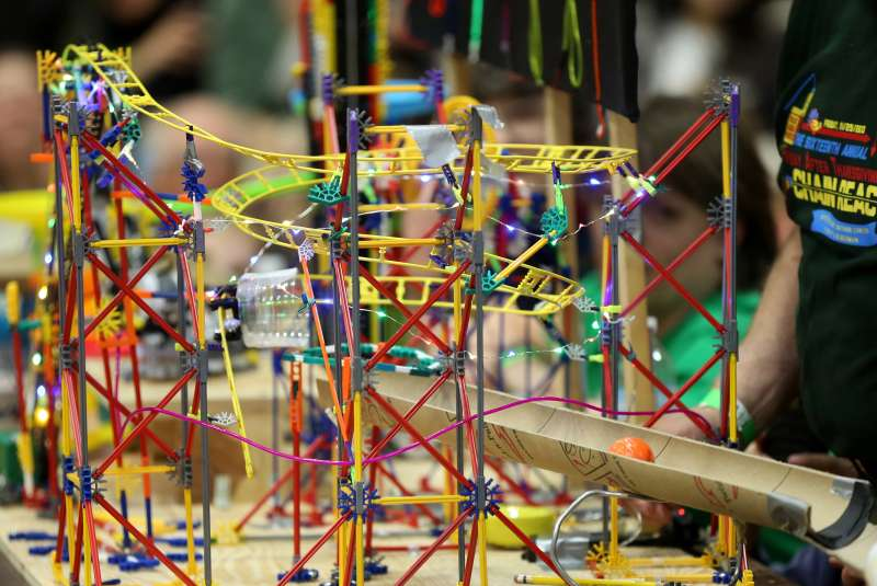 One of the contraptions. The 16th Annual Friday After Thanksgiving Chain Reaction Event held at MIT, featuring 34 teams and their Rube Goldberg machines.