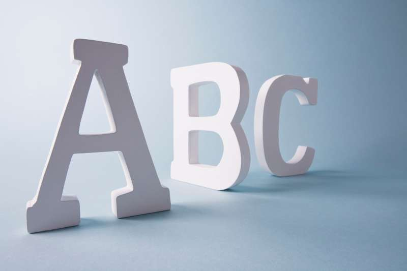 Studio shot of letters A, B and C