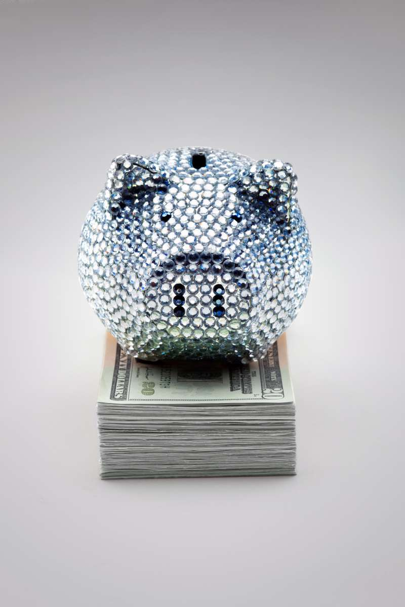 rhinestone studded piggy bank