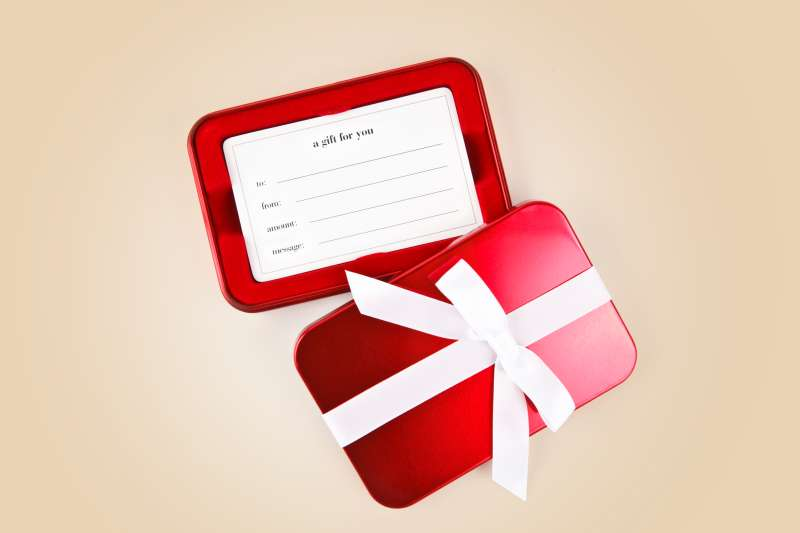 Gift card on gold background
