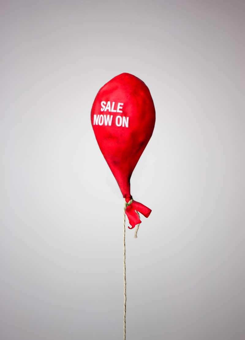 deflated balloon saying  Sale Now On