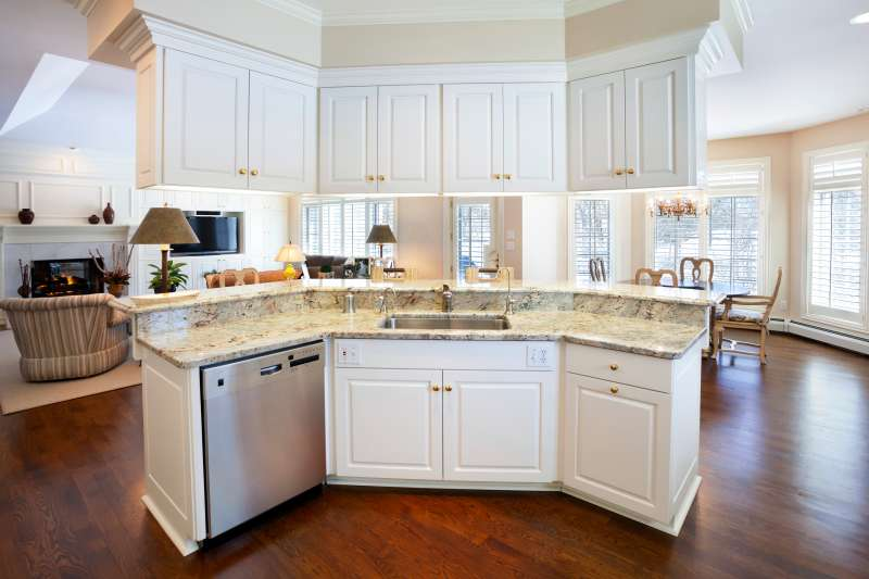 open kitchen with multi-level island