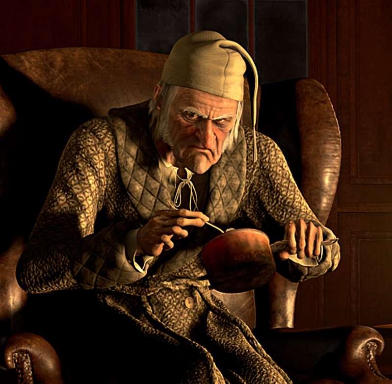 Scrooge in  A Christmas Carol