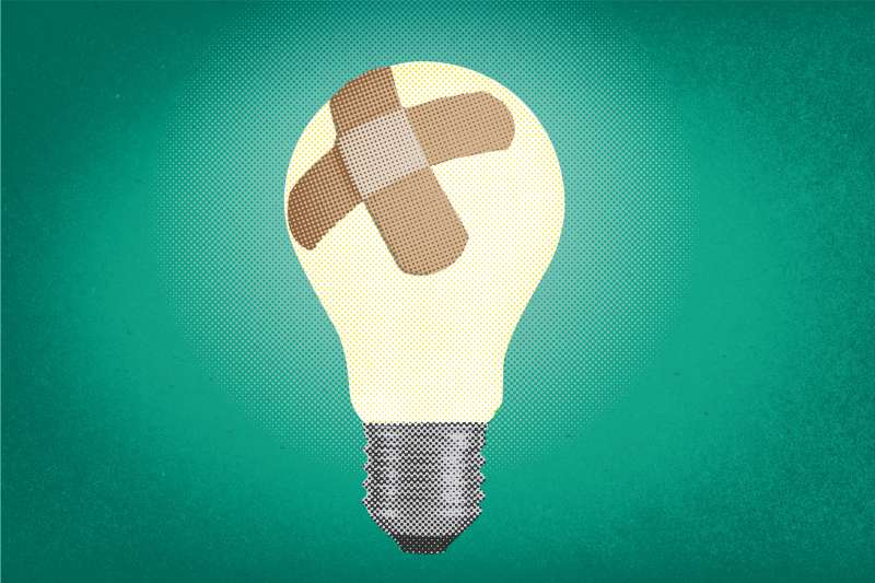 Lightbulb with Band-Aids